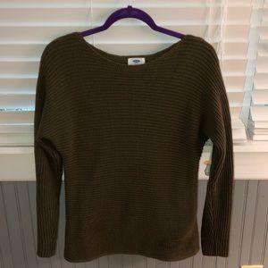 dark green braided sweater